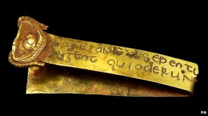 staffordshire hoard gold strip with inscription