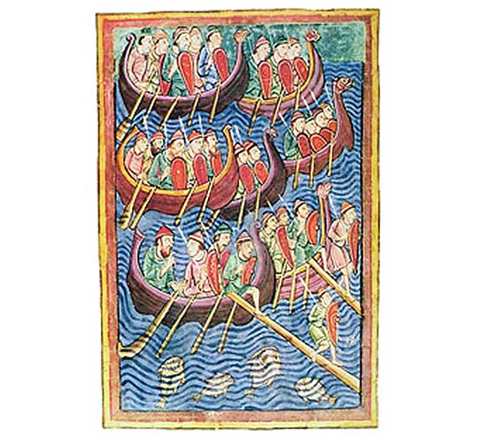 Vikings disembarking in England during the second wave of migration (vellum)